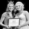Kevin Harvison | Staff photo<br /> 2018 Miss McAlester Outstanding Teen Maddie Carr, left, poses with the 2019 Miss McAlester Outstanding Teen Congeniality Award winner Starla Edge during the 2019 Miss McAlester Scholarship Pageant at S. Arch Thompson Auditorium Saturday.