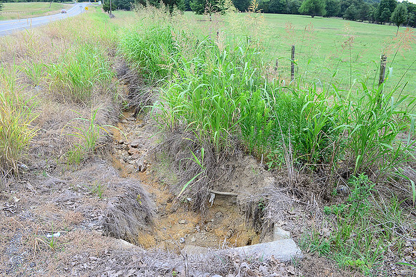 Kevin Harvison | Staff photo<br /> A look at the start of a ditch that got cleaned out a year ago that has caused Ernest Edwards at 355 State Highway 113 problems washing away fence on his property.