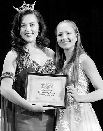 Kevin Harvison | Staff photo<br /> 2018 Miss McAlester Alexandria Williams, left, poses with Miss McAlester's Outstanding Teen First Runner Up Madison McMahan S. Arch Thompson Auditorium Saturday.