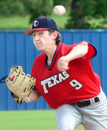 KEVIN HARVISON | Staff photo<br /> Team Texas starting pitcher Mason Ornelas delivers a pitch during opening day of the Junior Sunbelt Classic at Eastern Oklahoma State College Friday.