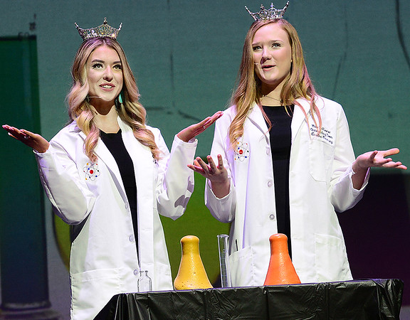 KEVIN HARVISON |<br /> Pictured from left, 2019 Miss McAlester Marra Juarez and Miss McAlester's Outstanding Teen 2019 Emilee Coxsey start the 2020 Miss McAlester Scholarship Competition and McAlester's Outstanding Teen Competition at S. Arch Auditorium Saturday night wtih a science demonstration.