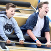 KEVIN HARVISON | Staff photo<br /> Two boys react to one of the carnival rides during the 2019 Italian Festival Friday.