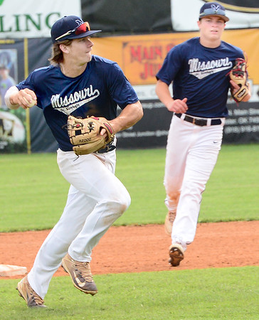 KEVIN HARVISON | Staff photo<br /> Team Missouri shortstop makes a play during Junior Sunbelt Classic action at Mike Deak Field Tuesday.