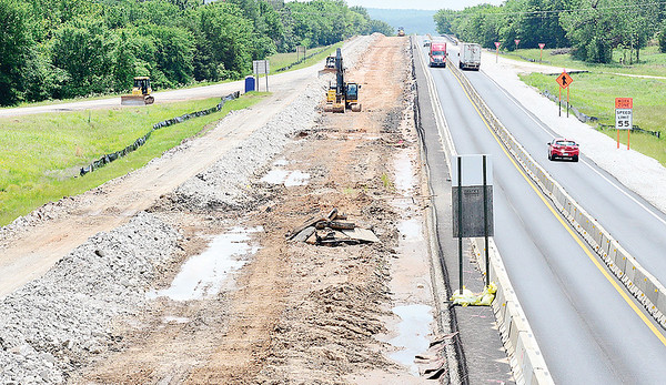 KEVIN HARVISON | Staff photo<br /> Construction continues on U.S. Highway 69 near the Eufaula exit keeping north and southbound directions to one lane.