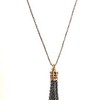 7538-TAS CO68  BRONZE CROWN WITH CHAIN TASSEL ON AFRICAN HEISHI