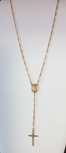 "7-RM34-CHN CO56   ""MOTHER'S"" CROSS ON DELICATE ROSARY STYLE NECKLACE WITH VINTAGE CHAIN  16+2"""