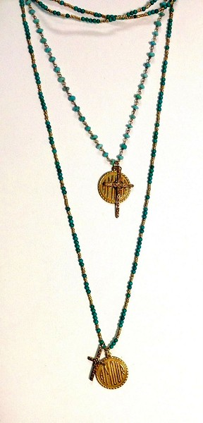 """TOP:  7-AMR/34-TQ CO69  AMOUR MEDAL AND CROSS ON TURQUOISE CHAIN 16+2"""" BOTTOM:  7-AMR-TQH CO78  AMOUR MEDAL AND TINY CROSS ON TURQ AND HEISHI CHAIN 36"""""""