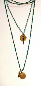 "TOP:  7-AMR/34-TQ CO69  AMOUR MEDAL AND CROSS ON TURQUOISE CHAIN 16+2"" BOTTOM:  7-AMR-TQH CO78  AMOUR MEDAL AND TINY CROSS ON TURQ AND HEISHI CHAIN 36"""