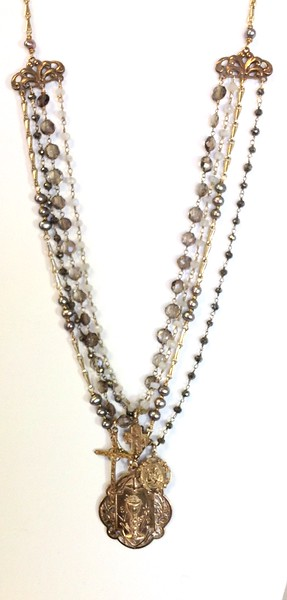 """7-4-RM157LB CO169  COMMUNION MEDAL,  ST JOSEPH MEDAL, 4 WAY CROSS AND """"MOTHERS"""" CROSS ON, PYRITE, MOONSTONE, PEARLS AND LABRADORITE  16 + 2"""""""