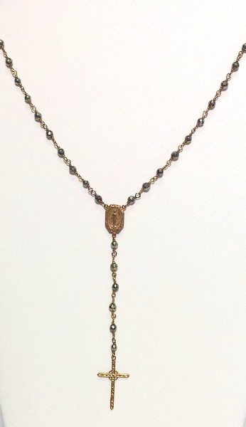 """7-RM34-PYR CO69  """"MOTHER'S"""" CROSS ON PYRITE CHAIN--DELICATE ROSARY STYLE NECKLACE  16 + 2"""""""