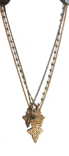 7-3EC CO156 3 ETHIOPIAN CROSSES ON PYRITE ROSARY CHAIN AND 2 VINTAGE CHAINS