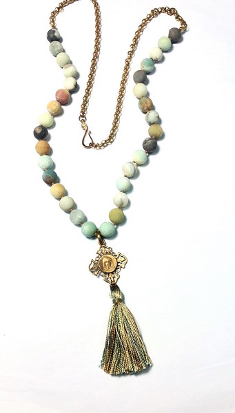 7-RM281-AZT CO105  OUR LADY MEDAL ON KNOTTED AMAZONITE WITH VINTAGE CHAIN AND SILK TASSEL   BEST SELLER!