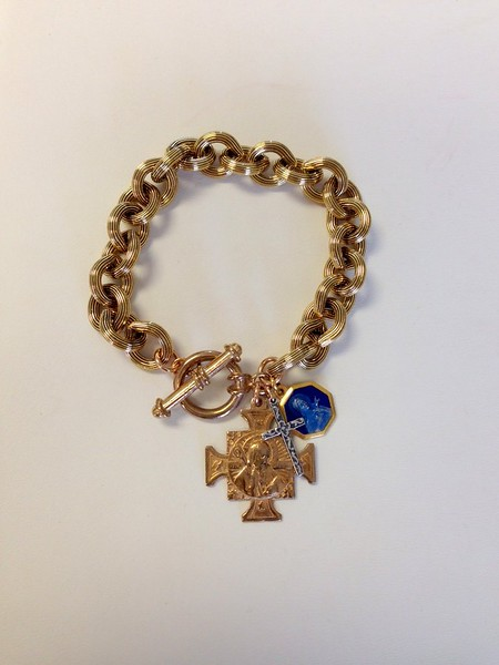0-483-VB CO104 VINTAGE BLUE ENAMEL ST. THERESA MEDAL AND SAN BENITO MEDAL WITH STERLING CROSS ON BRONZE BRACELET