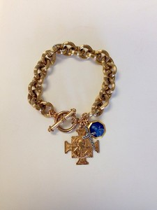 0-483-VB CO104 VINTAGE BLUE ENAMEL ST. THERESA MEDAL AND SAN BENITO MEDAL WITH STERLING CROSS ON BRONZE BRACELET  This chain is gone but we have similar ones.