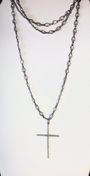 """7-CZC-CRSY CO169  CZ CROSS ON DARK STERLING CHAIN WITH SQUARE CZS  381/2"""" AVAILABLE WITHOUT CROSS"""