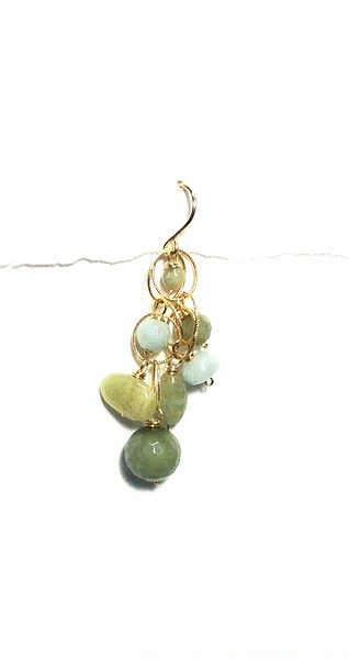8-AQGA-CL CO49  AQUAMARINE, AMAZONITE AND GREEN AMETHYST CLUSTER ON GOLD FILLED CHAIN LINKS