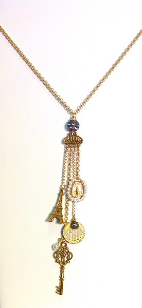 7-943-KEY CO115  KEY, EIFFEL TOWER, AMOUR AND MIRACULOUS MEDAL W/ PEARLS HANGING FROM RHINESTONE FIXTURE--ALL ON TINY BELCHER CHAIN 27""