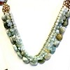 7-4-AQAG CO120  4 STRANDS OF AQUAMARINE ON BRONZE FIXTURES  17 + 2""