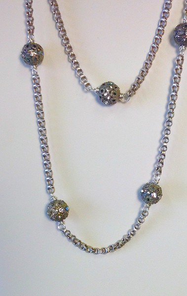 7-RS-SCHN CO89  RHINESTONES AND SILVER CHAIN 36""