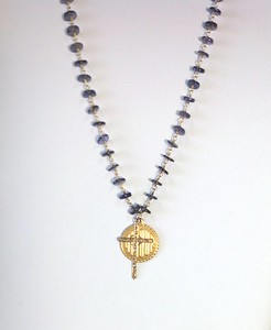 7-AMR-34I  CO62  AMOUR MEDAL AND CROSS ON IOLITE CHAIN  16 + 2""