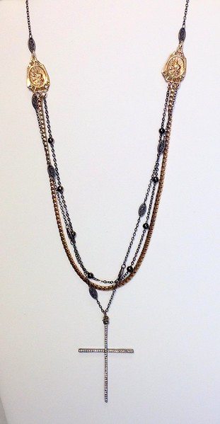"""7-3CHN-CZC CO98  CZ CROSS ON VINTAGE CHAIN AND 2 GUNMETAL CHAINS WITH ST. CHRISTOPHER FIXTURES  16+2"""" EXT"""
