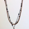 "7-3CHN-CZC CO98  CZ CROSS ON VINTAGE CHAIN AND 2 GUNMETAL CHAINS WITH ST. CHRISTOPHER FIXTURES  16+2"" EXT"