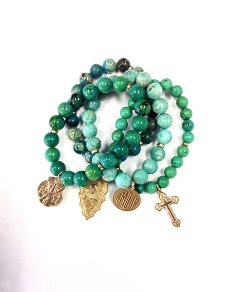 0-BRAC SET 48 CO132 TURQUOISE AND JASPER AND AMAZONITE BRACELET SET WITH BRONZE MEDALS