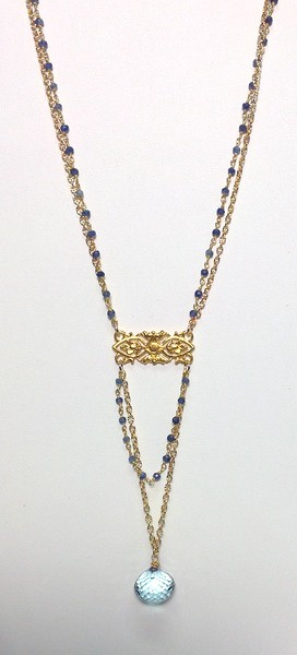 """73405V-SQ CO119  VERMEIL FIXTURE WITH BIG BLUE QUARTZ BRIOLETTE ON GOLD FILLED CHAIN AND BLUE JADE ROSARY CHAIN  16+2"""""""