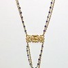 73405V-SQ CO119  VERMEIL FIXTURE WITH BIG BLUE QUARTZ BRIOLETTE ON GOLD FILLED CHAIN AND BLUE JADE ROSARY CHAIN  16+2""