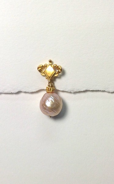 83372V-MP CO59  VERMEIL POST EAR WITH MING PEARL