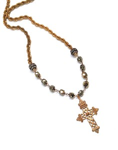7-RM269-PYRS CO118. GOTHIC CROSS ON SQUARE PYRITE WITH RHINESTONES AND VINTAGE CHAIN 18""