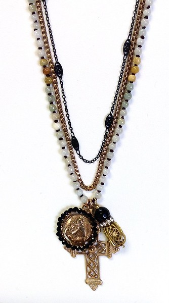 """7-3-RM269-J CO110 GOTHIC CROSS, ST ANTHONY MEDAL WITH ONYX, VINTAGE BEAD ON KNOTTED JADE AND VINTAGE CHAIN  22"""""""