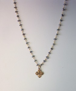 7-RM83-BPR CO59  TINY 4 WAY CROSS ON BLUE KEISHI PEARL ROSARY CHAIN  16+2""