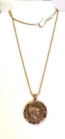 """7-GM10-MAG CO89  ATHENA, GODDESS OF WISDOM, MEDAL WITH MULTI COLORED QUARTZ BEADS ON LONG VINTAGE CHAIN  26"""" + PENDANT"""