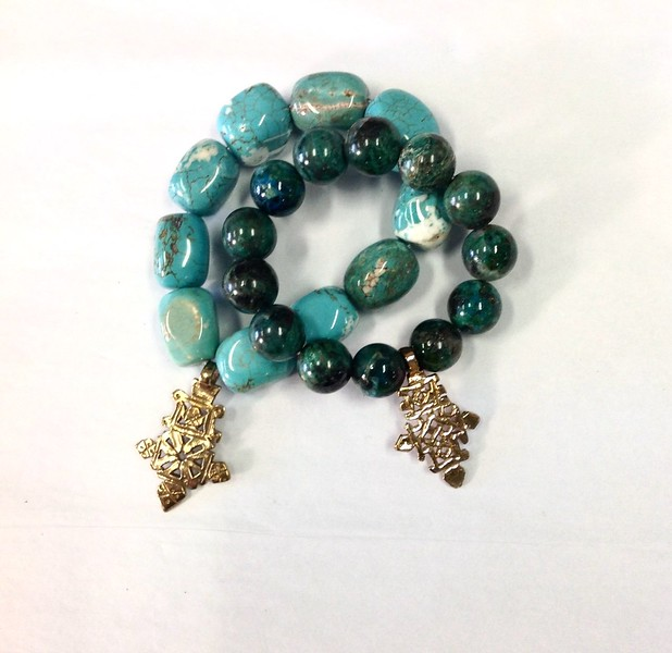 BRAC SET 47 CO72  TURQUOISE AND AQUA JASPER BRACELETS WITH COPTIC CROSSES