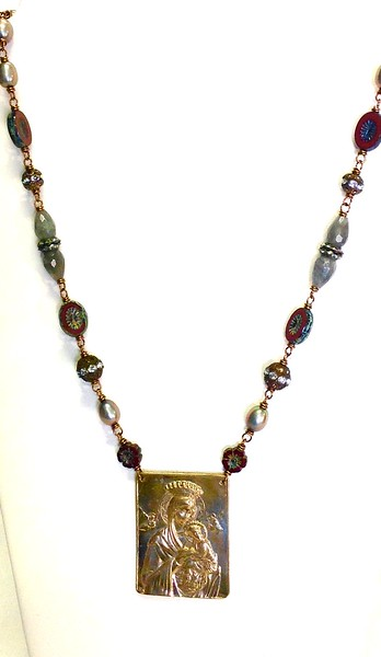 """7-RM251-CB CO99  OUR LADY OF GOOD HELP ON AGED RHINESTONES, CZECH BEADS, PEARLS  AND LABRADORITE  24 1/2"""" +2"""" EXT"""