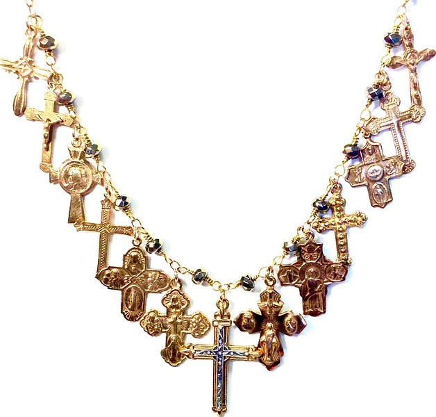 """7-13RM-PY CO198 13 BRONZE CROSSES ON PYRITE ROSARY CHAIN  26""""  CENTER CROSS HAS STERLING CROSS ADDED"""