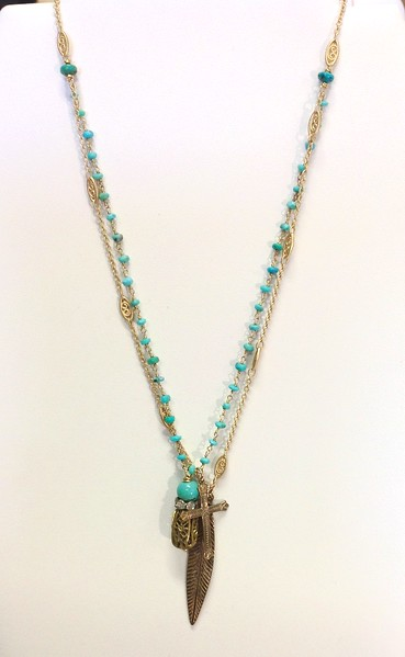 """7-2-TQ-LEAF CO82  VINTAGE BRASS BEAD W/TURQ, CROSS AND LEAF (OR FEATHER) ON TURQ ROSARY CHAIN AND DELICATE FILIGREE CHAIN 16+2"""""""