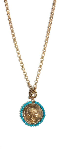 """7-GM10-TQCH CO89   BRONZE ATHENA-GODDESS OF WISDOM MEDAL ON BRONZE BELCHER CHAIN WITH TOGGLE  27"""""""