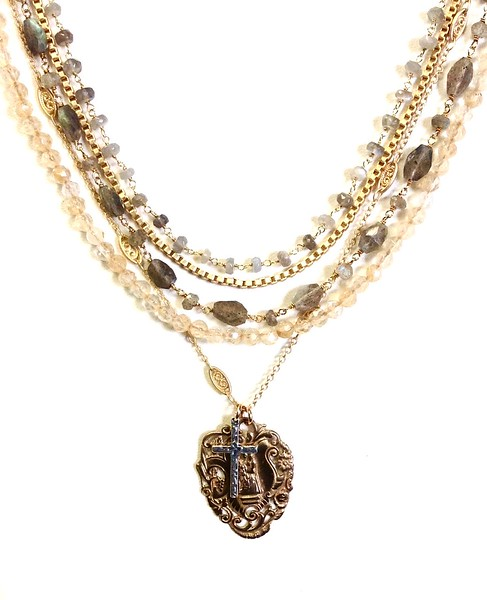 7-5-RM276-LB CO118  OUR LADY OF MERCY MEDAL AND STERLING CROSS ON CITRINE,AND LABRADORITE AND VINTAGE CHAIN  16 + 2""