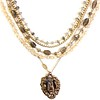 """7-5-RM276-LB CO118  OUR LADY OF MERCY MEDAL AND STERLING CROSS ON CITRINE,AND LABRADORITE AND VINTAGE CHAIN  16 + 2"""""""