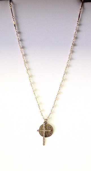 """7-LOVE-34WP CO60 LOVE MEDAL AND CROSS ON WHITE PEARL ROSARY CHAIN  16+2"""""""