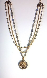 7-3-RM262-LB CO98  ST ANTHONY MEDAL WITH LAB ON VINTAGE CHAIN, PYRITE AND LAB  16 + 2""