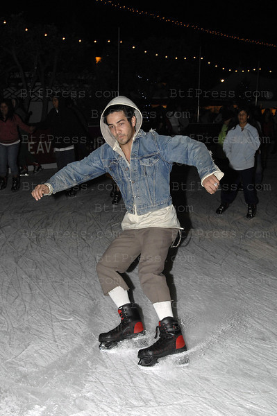 "EXCLUSIVE- Justin Bobby from ""The Hills"" on ice in Santa Monica California with his friend Chris Roberts one of the best skateboarder man in the world, they have a really  good time in Santa Monica on November 15,2008."