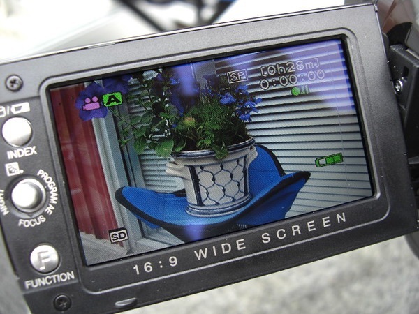 The icon in the upper left of the LCD screen shows the camera is in the video capture mode...