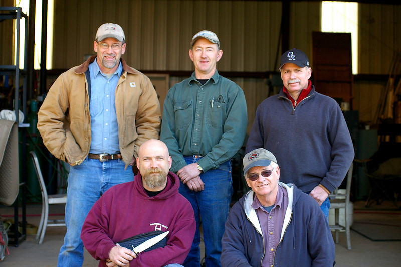 Spring Damascus at JW Randall's shop.<br /> left to right back row: JW Randall, Shayne Carter - Payson, Utah,<br /> Tony Hughes - Littleton, Colorado<br /> front row: Ross Emerson - Benton, Louisiana,<br /> Bill Kirkes - Little Rock, Arkansas