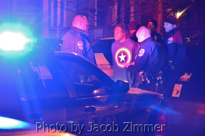 Three suspects were handcuffed as police investigated gunfire on the 600 block of Rubel Street Thursday morning around 3:30 am. No ambulances were on sight.