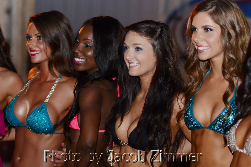 Contestants smiled for a group photo backstage at the regional bikini contest at the Dupont Hooters with women from KY, IN, TN and OH for a chance to travel to Las Vegas for the national competition. Friday May 30, 2014.