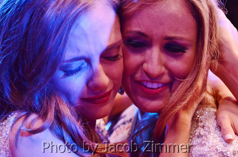 UK graduate Ramsey Carpenter from Ohio County, right,  is congratulated by Kiley Shuffett, left, after being crowned the 2014 Miss Kentucky during the pageant at the Singletary Center for the Arts in Lexington Saturday night. June 12, 2014.