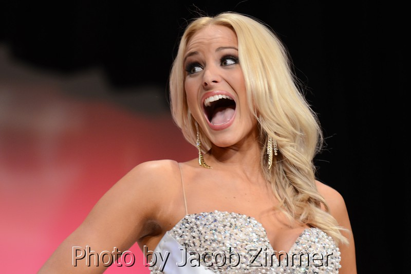 Katie George reacts after being announced as a finalist at the 2015 Miss Kentucky USA Pageant at the Ursuline Arts Center Sunday night. January 11, 2015.